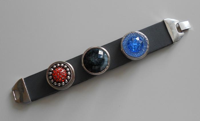 Leren armband drukker chunk grijs met verlengstuk