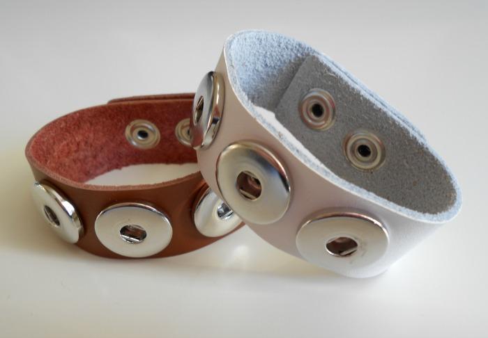 Leren armbanden drukkers bruin en wit