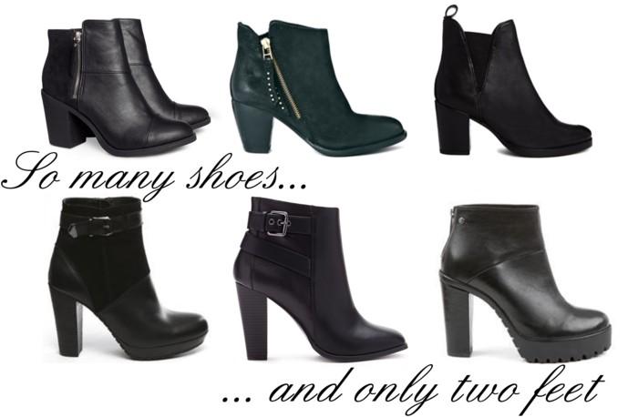 Black shoes, black boots
